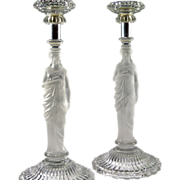 SOLD Antique Pair Baccarat Candlesticks Classical Woman Sculpture  For A.