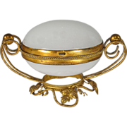 SOLD Antique French Palais Royal White Opaline Egg Casket