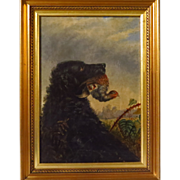 SOLD Early 19th century Oil Painting Gun Dog Hunting Dog with Bird