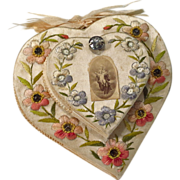 SOLD French Religious Convent Relic Handmade Heart Embroidery Paintings Prayers