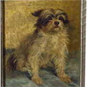 SOLD Terrier Dog Oil Portrait Signed Minna Stocks