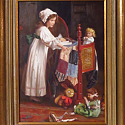 SOLD Young Girl With Dolls Oil Painting Signed P. Musin