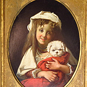 SALE 19th Century Oil Painting Young Girl White Dog Gilt Frame