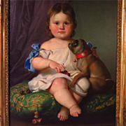 SALE Young Child with Pug Dog Oil Portrait 19th Century