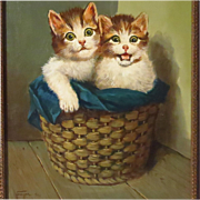 SALE Two Kittens in Basket Oil Painting Hans Fenger