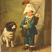 SOLD Antique Oil Painting Boy with Dog