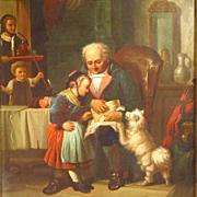 SALE 19th Century German Oil Painting Genre Scene Family Celebration