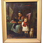 SALE 19th Century German Oil Painting Genre Scene Grandma and Grandson