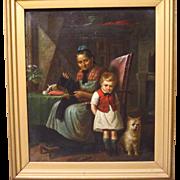 SALE 19th Century German Oil Painting Genre Scene Grandma and Grandson