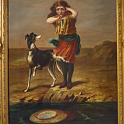 19th Century Oil Painting Girl and Whippet Dog