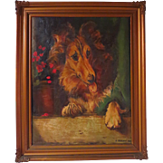 Scottish Collie Dog Portrait Signed Dated 1920
