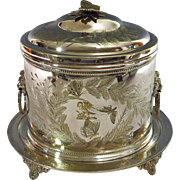 SOLD On hold.    Antique English Silver Plate Biscuit Box Aesthetic Movement Fern Motif Lion's