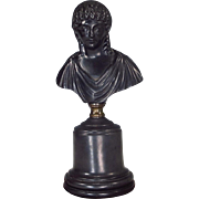 SOLD Black Basalt Roman Goddess Bust on Plinth