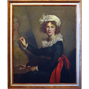 SALE Oil on Canvas Painting Portrait Elisabeth Vigee-Lebrun Authorized Copy Uffizi Gallery