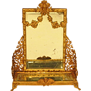 SOLD Antique French Gilt Metal Doll Dollhouse Dressing Pier Mirror