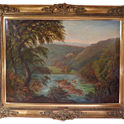 SALE Large Oil Painting Landscape Signed