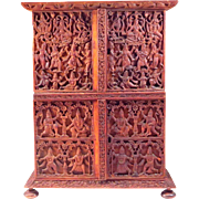Antique Anglo-Indian Carved Sandlewood Miniature Cabinet with Deities and Figures