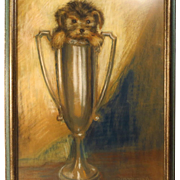 SOLD Pastel Painting Puppy in Trophy Cup