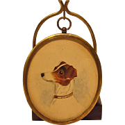 SOLD Miniature Watercolor Painting Jack Russell Terrier on Stand