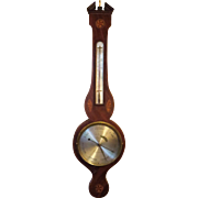 Early 19th Century English Mahogany Wheel Banjo Barometer