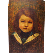 SOLD Young French Girl Jeune Fille  in Sailor Dress Oil on Panel