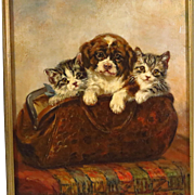 Oil Painting Two Kittens and Puppy in Traveling Bag Signed