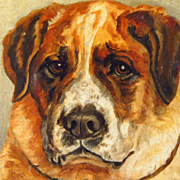 19th Century Oil Painting Portrait St.Bernard Dog