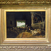 SALE PENDING Early 19th Century Oil Painting Sheep and Goat in Stable Monogrammed