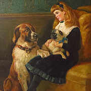 Young Girl Oil Painting with Dogs