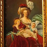 SOLD Antique Portrait Marie Antoinette with Children After Vigee-Lebrun