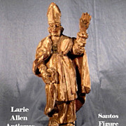 SOLD Carved Religious Statue Bishop Polychrome