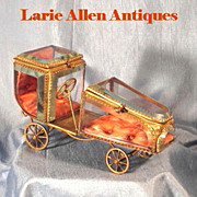 SOLD Rare French Double Watch Holder/Casket Figural Car