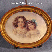 SOLD Young Sisters Double Portrait Miniature Signed