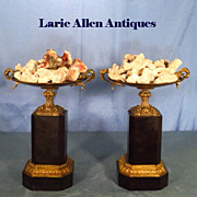 SOLD Pair French Empire Bronze and Black Marble Tazza 19th Century