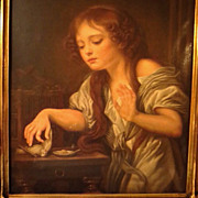 SOLD Antique Oil Painting Young Girl Signed Bregoli after Greuze