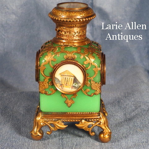 Antique French Green Opaline Perfume Scent Bottle Miniature Paintings