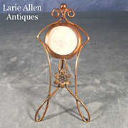 Art Nouveau Brass Wire Pocket Watch Holder