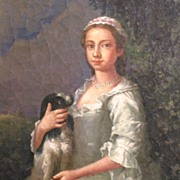 SOLD Beautiful Young Woman and Spaniel 19th Century Oil on Board Signed