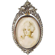 SOLD RESERVED  Antique French Jeweled Sterling Miniature Picture Frame Portrait Miniature