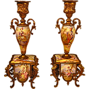 SOLD Antique Pair Austrian Enamel Bronze Candlesticks