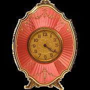 SOLD Antique Swiss Sterling Guilloche Traveling Strut Clock Original Case