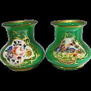 Pair French Green Opaline Vases Handpainted