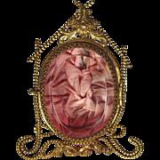 SOLD Antique French Pocket Watch Holder Vitrine Cranberry Glass Ormolu
