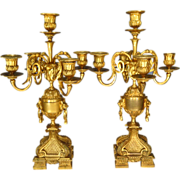 19th Century Pair French Gilded Bronze Candelabra