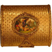 SOLD French Jeweled Gilt Brass Compact Miniature Painting