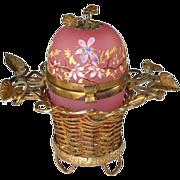 Antique French Pink Opaline Casket in Ormolu Basket
