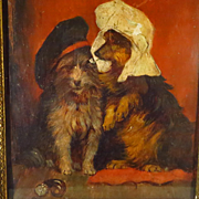 SOLD Two Terriers with Hats Oil on Panel