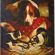 SOLD On Hold   Large 19th Century Oil Painting Foxhound Dog and Puppies