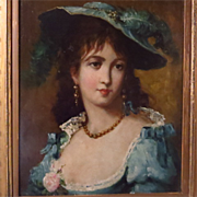 SOLD Beautiful Young Woman Portrait English School Oil on Panel