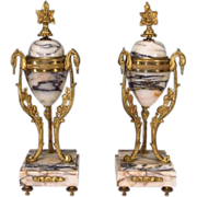 SOLD Pair French Marble Ormolu Garniture
